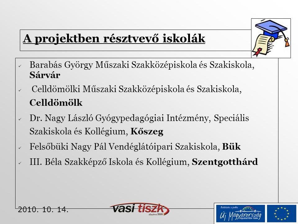 2010. 10. 14. A projektben résztvevő iskolák  Barabás György Műszaki Szakközépiskola és Szakiskola, Sárvár  Celldömölki Műszaki Szakközépiskola és S