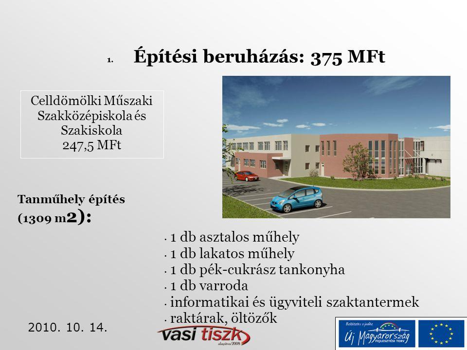 2010. 10. 14. Celldömölki Műszaki Szakközépiskola és Szakiskola 247,5 MFt 1. Építési beruházás: 375 MFt • 1 db asztalos műhely • 1 db lakatos műhely •