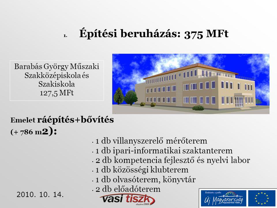 2010. 10. 14. 1. Építési beruházás: 375 MFt Barabás György Műszaki Szakközépiskola és Szakiskola 127,5 MFt • 1 db villanyszerelő mérőterem • 1 db ipar