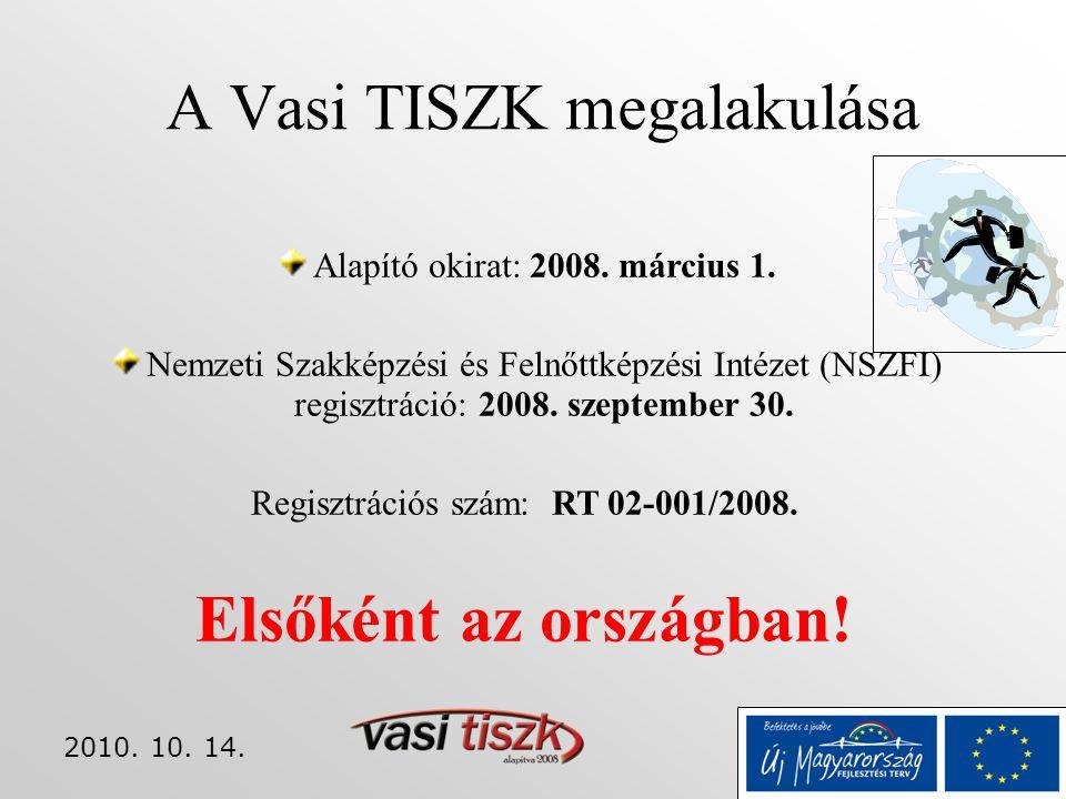 2010. 10. 14. A Vasi TISZK megalakulása Alapító okirat: 2008. március 1. Nemzeti Szakképzési és Felnőttképzési Intézet (NSZFI) regisztráció: 2008. sze
