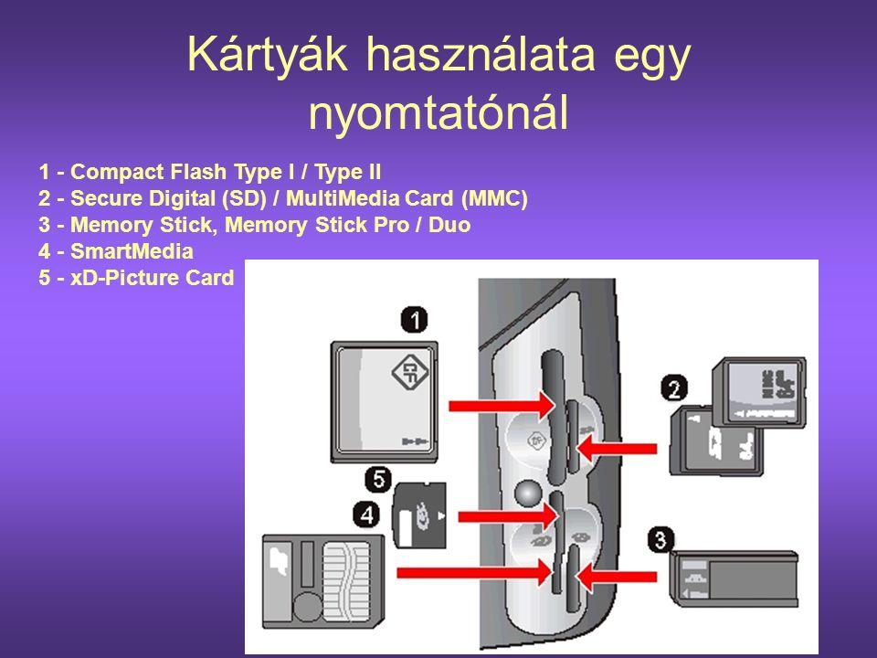 Kártyák használata egy nyomtatónál 1 - Compact Flash Type I / Type II 2 - Secure Digital (SD) / MultiMedia Card (MMC) 3 - Memory Stick, Memory Stick P