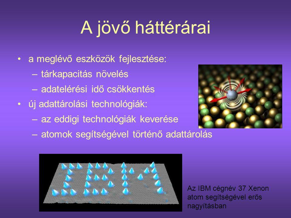 A jövő háttérárai •a meglévő eszközök fejlesztése: –tárkapacitás növelés –adatelérési idő csökkentés •új adattárolási technológiák: –az eddigi technol