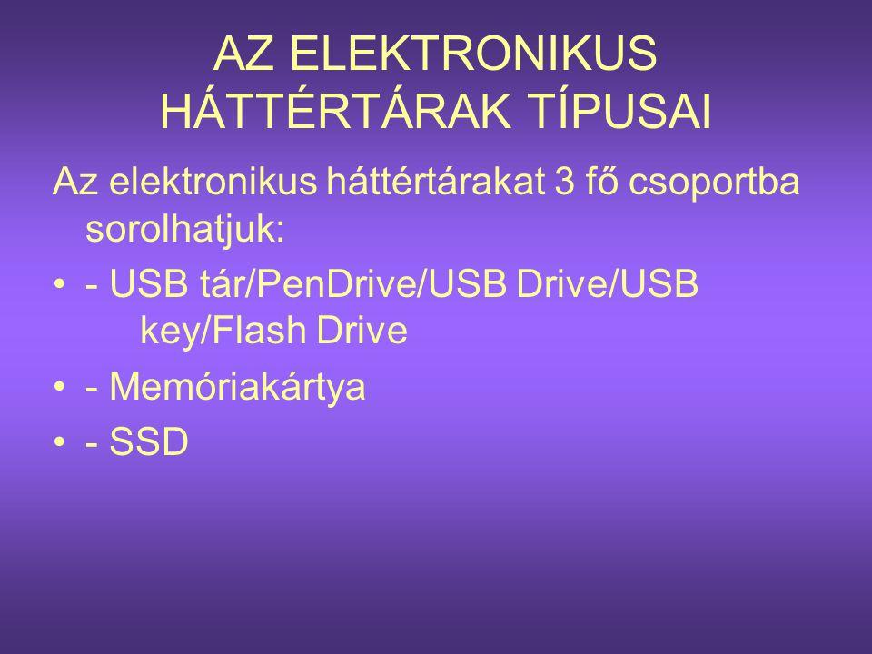 USB tár/PenDrive/USBKey •Angol neve: PenDrive vagy FlashDrive, USBKey, magyarul USB meghajtó, Flash meghajtó, USB tár, USB kulcs •A tároló egy apró kulcstartóra hasonlít, de gyakorlatilag floppiként kezelhető, hiszen az USB csatlakozóra helyezve az adatok úgy írhatók rá, mint a mágneses adathordozókra, azaz adatok igen sokszor letörölhetőek róla, majd újraírhatók.
