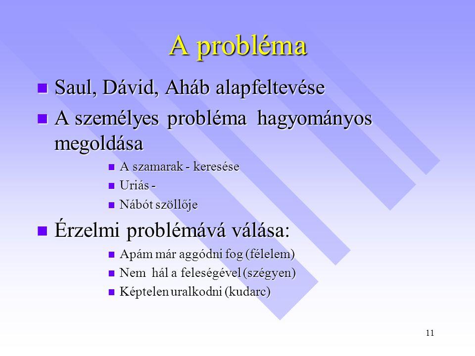 11 A probléma  Saul, Dávid, Aháb alapfeltevése  A személyes probléma hagyományos megoldása  A szamarak - keresése  Uriás -  Nábót szöllője  Érzelmi problémává válása:  Apám már aggódni fog (félelem)  Nem hál a feleségével (szégyen)  Képtelen uralkodni (kudarc)