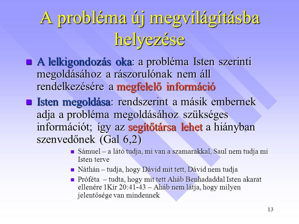 13 A probléma új megvilágításba helyezése  A lelkigondozás oka: a probléma Isten szerinti megoldásához a rászorulónak nem áll rendelkezésére a megfelelő információ  Isten megoldása: rendszerint a másik embernek adja a probléma megoldásához szükséges információt; így az segítőtársa lehet a hiányban szenvedőnek (Gal 6,2)  Sámuel – a látó tudja, mi van a szamarakkal, Saul nem tudja mi Isten terve  Náthán – tudja, hogy Dávid mit tett, Dávid nem tudja  Próféta – tudta, hogy mit tett Aháb Benhadaddal Isten akarat ellenére 1Kir 20:41-43 – Aháb nem látja, hogy milyen jelentősége van mindennek