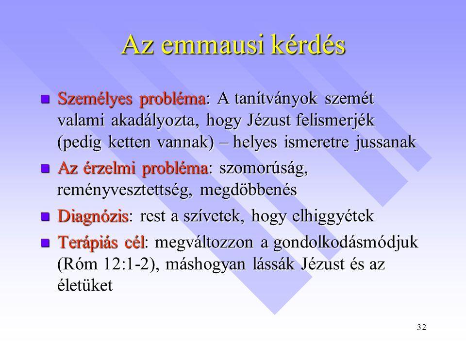 32 Az emmausi kérdés  Személyes probléma: A tanítványok szemét valami akadályozta, hogy Jézust felismerjék (pedig ketten vannak) – helyes ismeretre jussanak  Az érzelmi probléma: szomorúság, reményvesztettség, megdöbbenés  Diagnózis: rest a szívetek, hogy elhiggyétek  Terápiás cél: megváltozzon a gondolkodásmódjuk (Róm 12:1-2), máshogyan lássák Jézust és az életüket