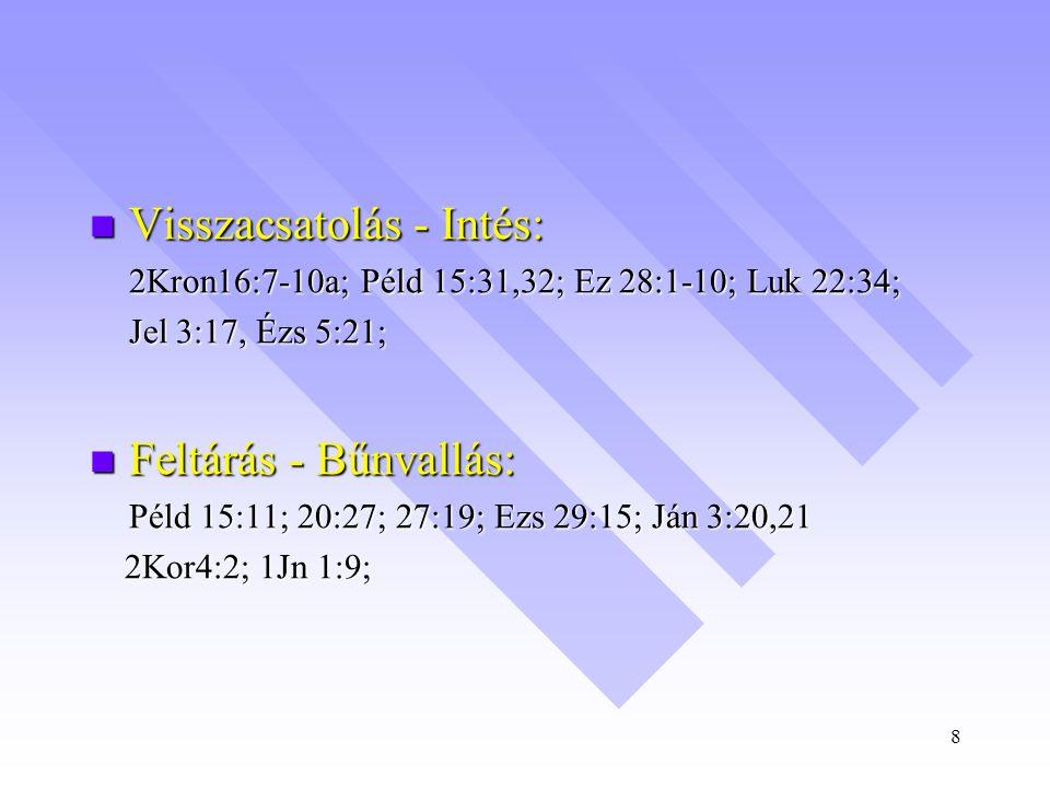 8  Visszacsatolás - Intés: 2Kron16:7-10a; Péld 15:31,32; Ez 28:1-10; Luk 22:34; Jel 3:17, Ézs 5:21;  Feltárás - Bűnvallás: Péld 15:11; 20:27; 27:19; Ezs 29:15; Ján 3:20,21 2Kor4:2; 1Jn 1:9; 2Kor4:2; 1Jn 1:9;