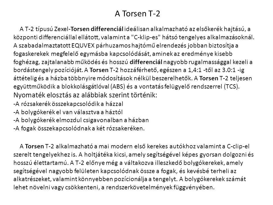 A Torsen T-2 A T-2 típusú Zexel-Torsen differenciál ideálisan alkalmazható az elsőkerék hajtású, a központi differenciállal ellátott, valamint a