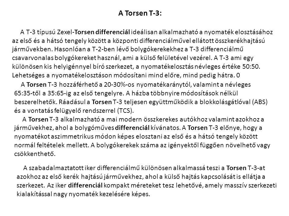 A T-3 típusú Zexel-Torsen differenciál ideálisan alkalmazható a nyomaték elosztásához az első és a hátsó tengely között a központi differenciálművel e