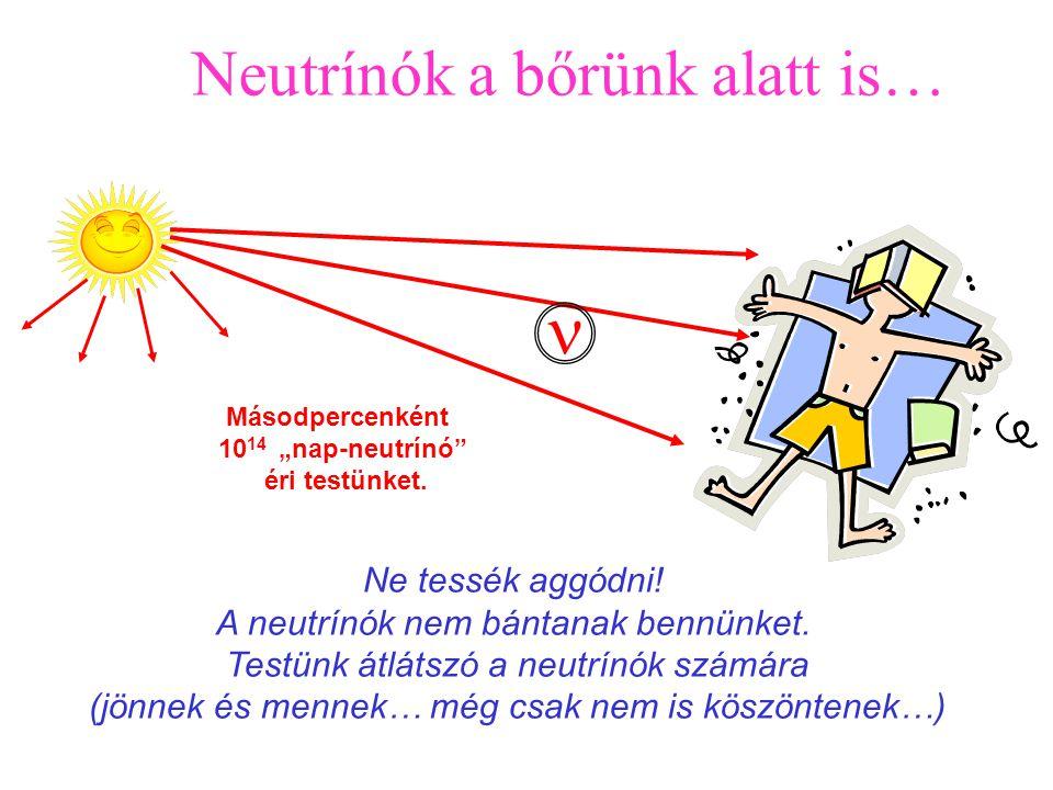 """Elektron, proton és a neutron """"csak ritkaságok""""! Ezek mindegyikére 1 milliárd neutrínó jut az Univerzumban.   """