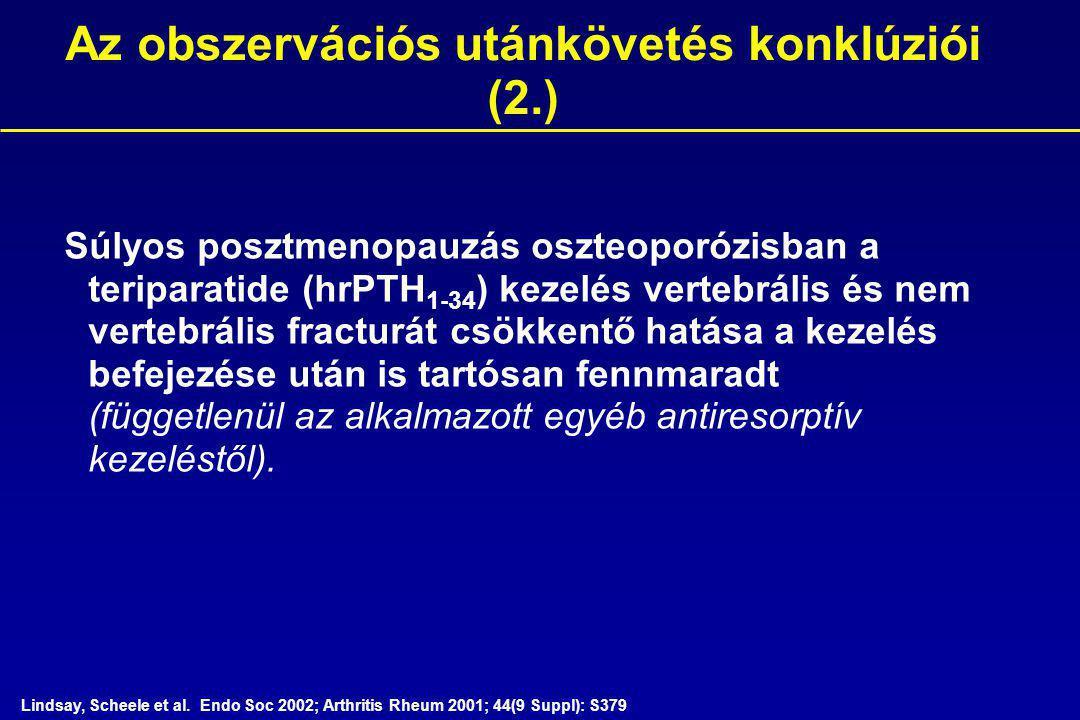Súlyos posztmenopauzás oszteoporózisban a teriparatide (hrPTH 1-34 ) kezelés vertebrális és nem vertebrális fracturát csökkentő hatása a kezelés befejezése után is tartósan fennmaradt (függetlenül az alkalmazott egyéb antiresorptív kezeléstől).