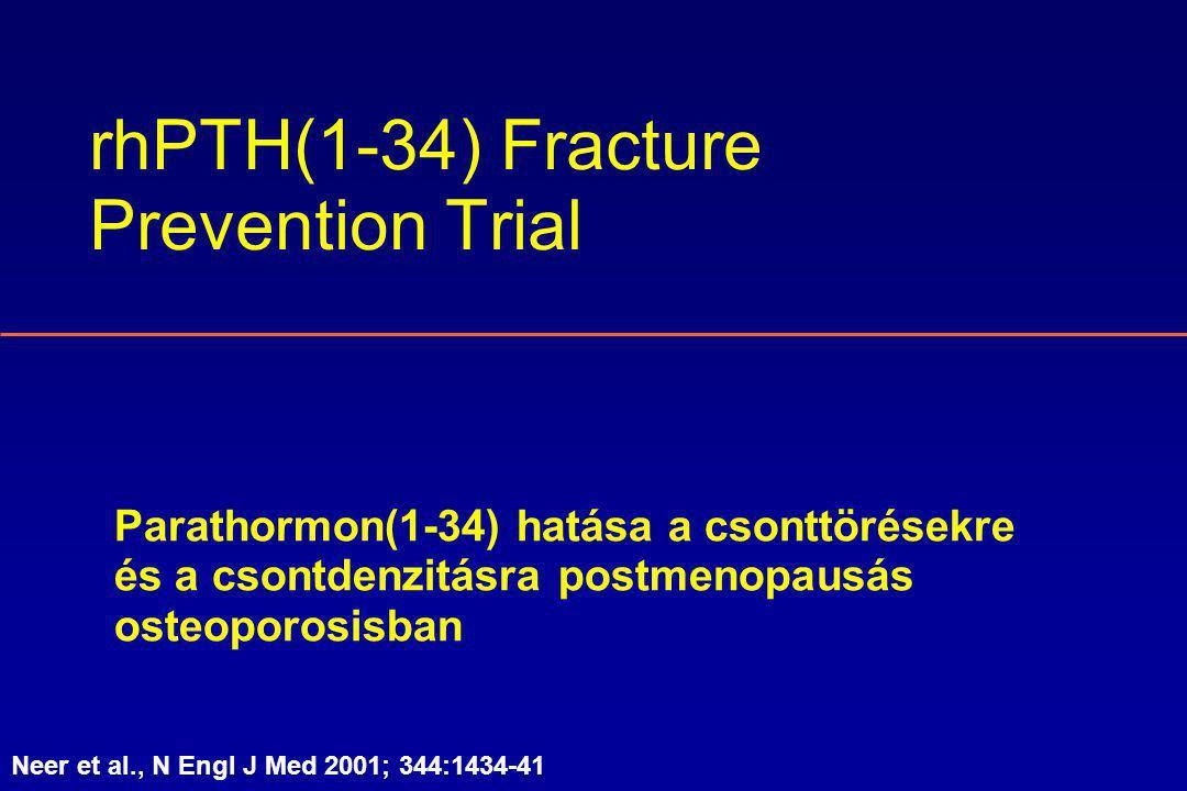 rhPTH(1-34) Fracture Prevention Trial Parathormon(1-34) hatása a csonttörésekre és a csontdenzitásra postmenopausás osteoporosisban Neer et al., N Engl J Med 2001; 344:1434-41