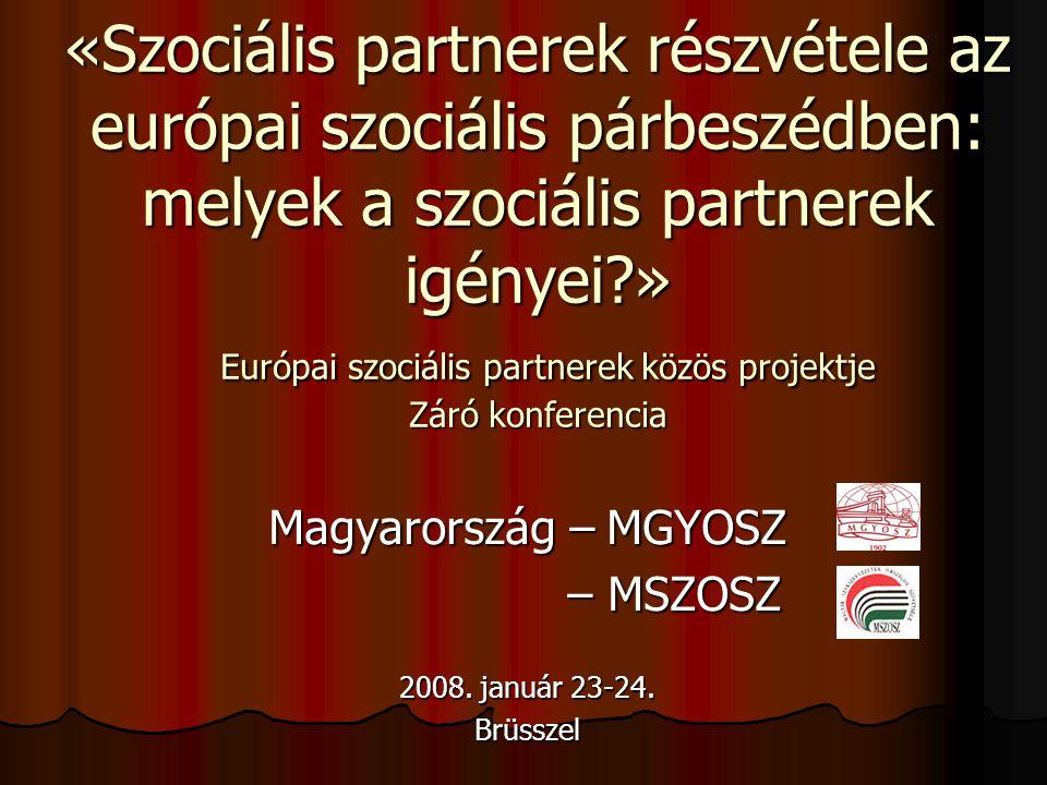 «Szociális partnerek részvétele az európai szociális párbeszédben: melyek a szociális partnerek igényei?» Európai szociális partnerek közös projektje Záró konferencia Magyarország – MGYOSZ – MSZOSZ – MSZOSZ 2008.