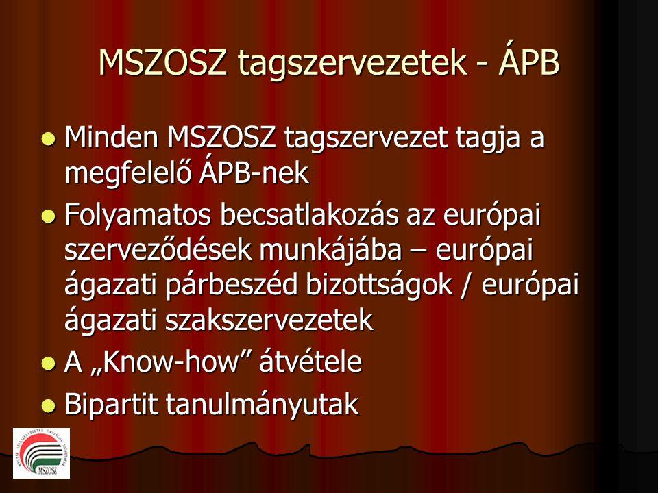 """MSZOSZ tagszervezetek - ÁPB  Minden MSZOSZ tagszervezet tagja a megfelelő ÁPB-nek  Folyamatos becsatlakozás az európai szerveződések munkájába – európai ágazati párbeszéd bizottságok / európai ágazati szakszervezetek  A """"Know-how átvétele  Bipartit tanulmányutak"""