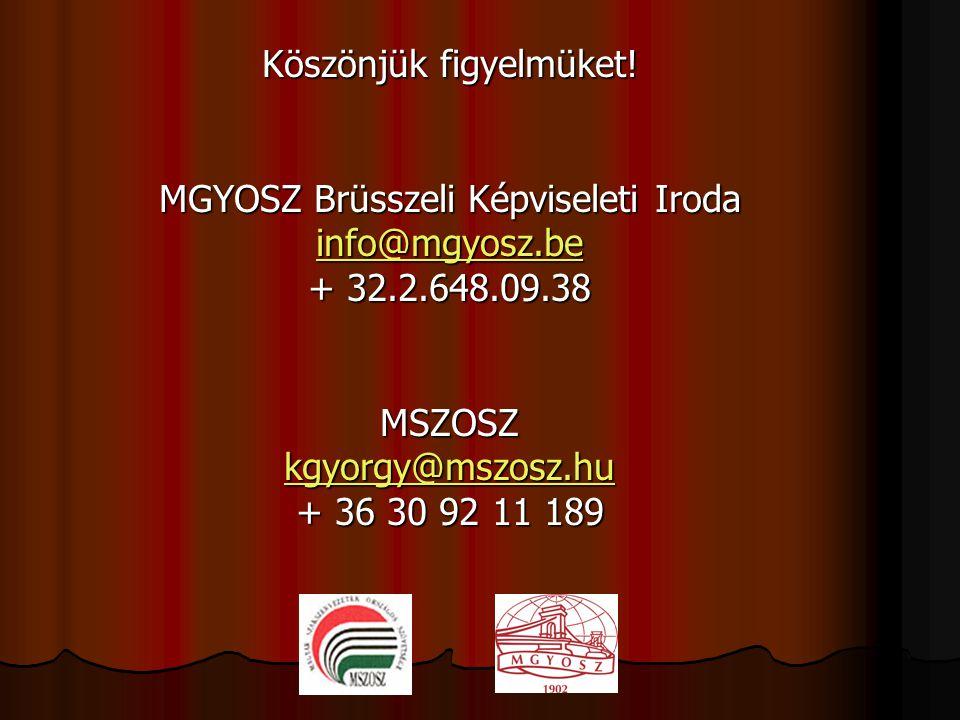 Köszönjük figyelmüket! MGYOSZ Brüsszeli Képviseleti Iroda info@mgyosz.be + 32.2.648.09.38MSZOSZ kgyorgy@mszosz.hu + 36 30 92 11 189