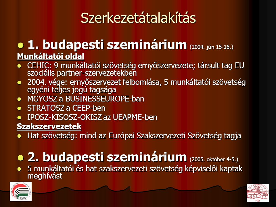 Szerkezetátalakítás  1. budapesti szeminárium (2004. jún 15-16.) Munkáltatói oldal  CEHIC: 9 munkáltatói szövetség ernyőszervezete; társult tag EU s