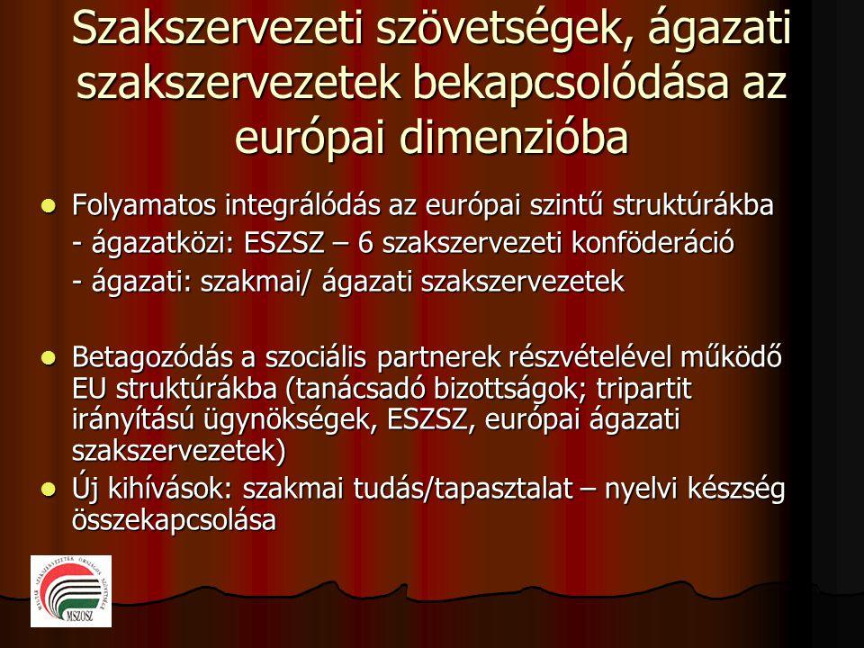 Szakszervezeti szövetségek, ágazati szakszervezetek bekapcsolódása az európai dimenzióba  Folyamatos integrálódás az európai szintű struktúrákba - ágazatközi: ESZSZ – 6 szakszervezeti konföderáció - ágazati: szakmai/ ágazati szakszervezetek  Betagozódás a szociális partnerek részvételével működő EU struktúrákba (tanácsadó bizottságok; tripartit irányítású ügynökségek, ESZSZ, európai ágazati szakszervezetek)  Új kihívások: szakmai tudás/tapasztalat – nyelvi készség összekapcsolása