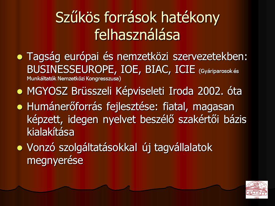 Szűkös források hatékony felhasználása  Tagság európai és nemzetközi szervezetekben: BUSINESSEUROPE, IOE, BIAC, ICIE (Gyáriparosok és Munkáltatók Nemzetközi Kongresszusa)  MGYOSZ Brüsszeli Képviseleti Iroda 2002.