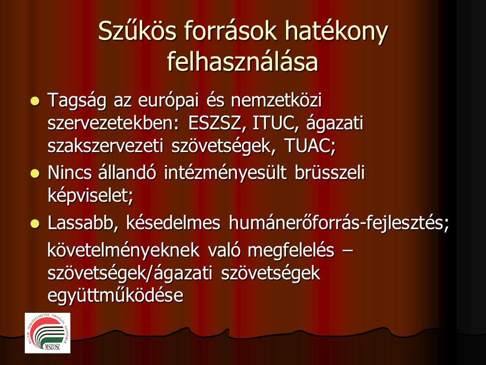 Szűkös források hatékony felhasználása  Tagság az európai és nemzetközi szervezetekben: ESZSZ, ITUC, ágazati szakszervezeti szövetségek, TUAC;  Ninc