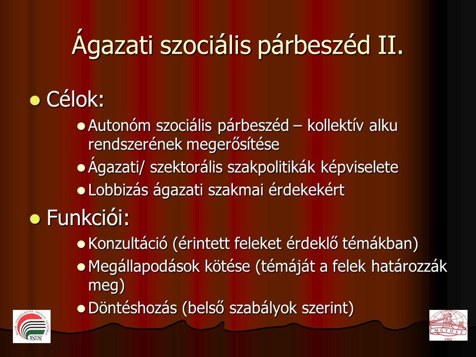 Ágazati szociális párbeszéd II.  Célok:  Autonóm szociális párbeszéd – kollektív alku rendszerének megerősítése  Ágazati/ szektorális szakpolitikák
