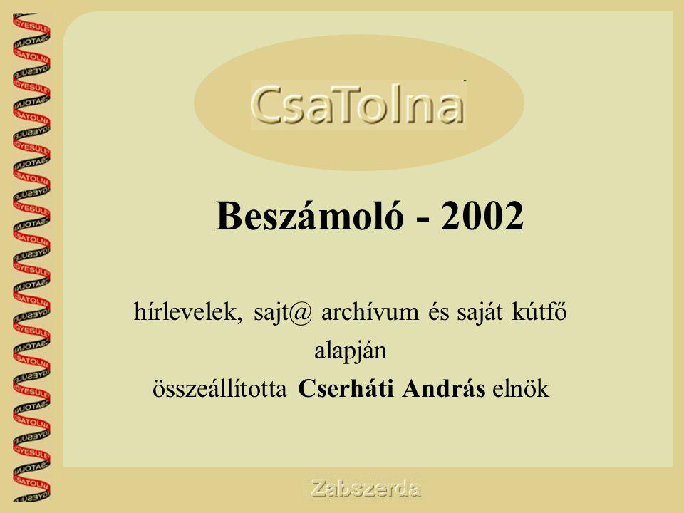 Beszámoló - 2002 hírlevelek, sajt@ archívum és saját kútfő alapján összeállította Cserháti András elnök