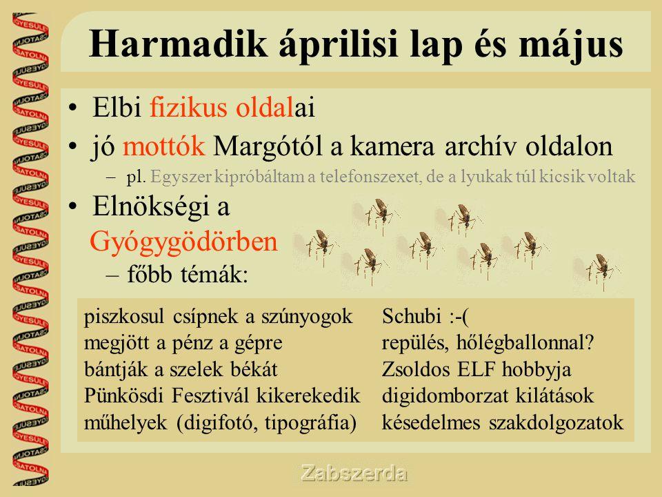 Harmadik áprilisi lap és május •Elbi fizikus oldalai •jó mottók Margótól a kamera archív oldalon –pl.