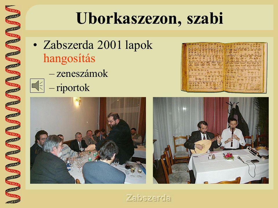 Uborkaszezon, szabi •Zabszerda 2001 lapok hangosítás –zeneszámok –riportok