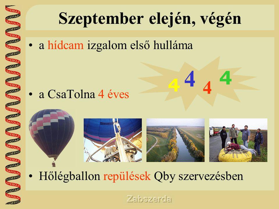 Szeptember elején, végén •a hídcam izgalom első hulláma •a CsaTolna 4 éves •Hőlégballon repülések Qby szervezésben 4 4 4 4