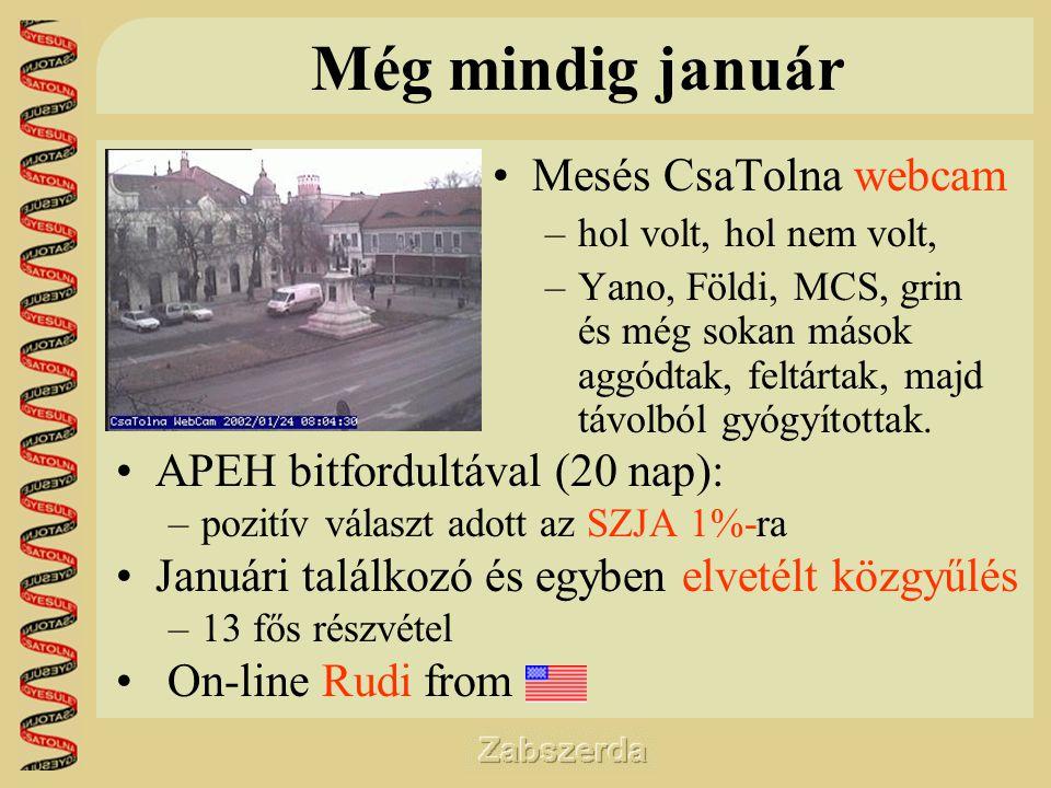 Még mindig január •Mesés CsaTolna webcam –hol volt, hol nem volt, –Yano, Földi, MCS, grin és még sokan mások aggódtak, feltártak, majd távolból gyógyítottak.