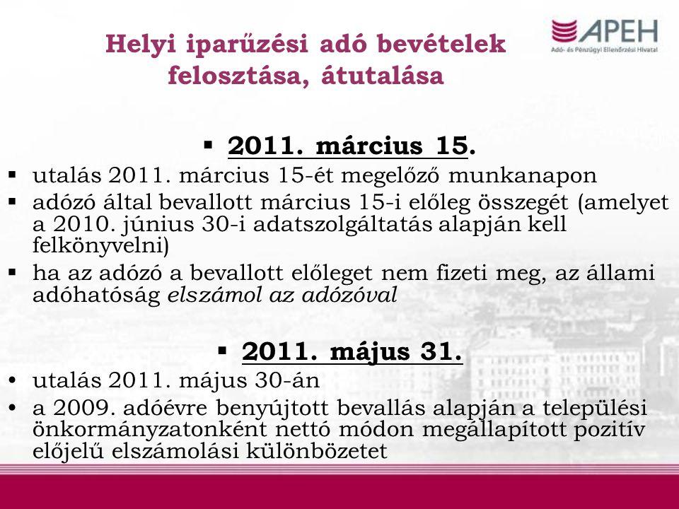 Helyi iparűzési adó bevételek felosztása, átutalása  2011. március 15.  utalás 2011. március 15-ét megelőző munkanapon  adózó által bevallott márci