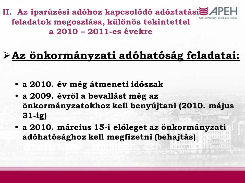 II. Az iparűzési adóhoz kapcsolódó adóztatási feladatok megoszlása, különös tekintettel a 2010 – 2011-es évekre  Az önkormányzati adóhatóság feladata