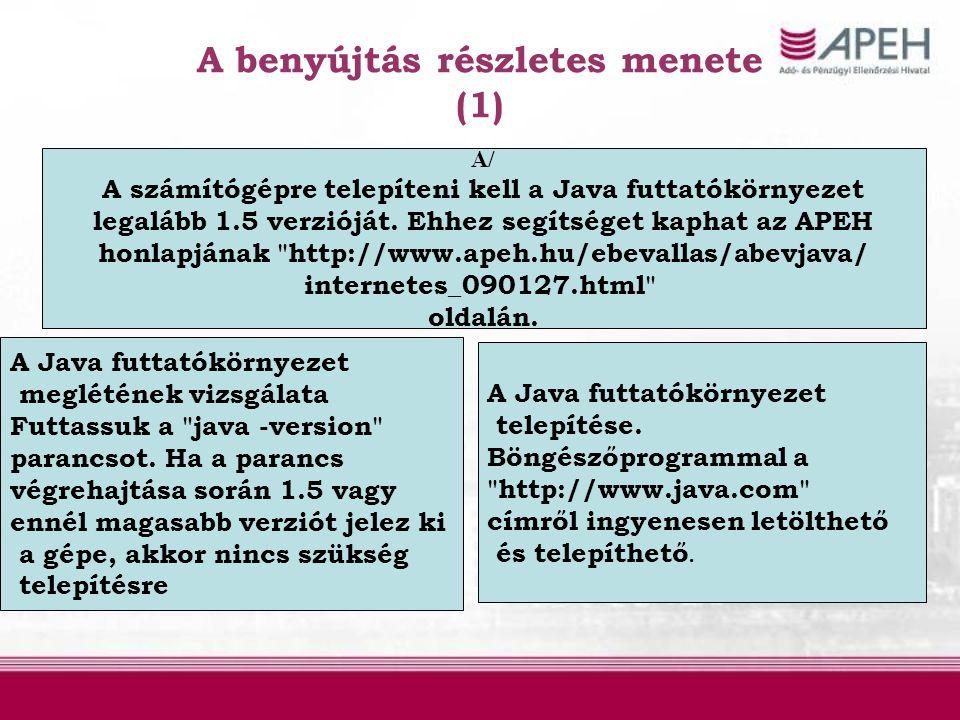 A benyújtás részletes menete (1) A/ A számítógépre telepíteni kell a Java futtatókörnyezet legalább 1.5 verzióját. Ehhez segítséget kaphat az APEH hon