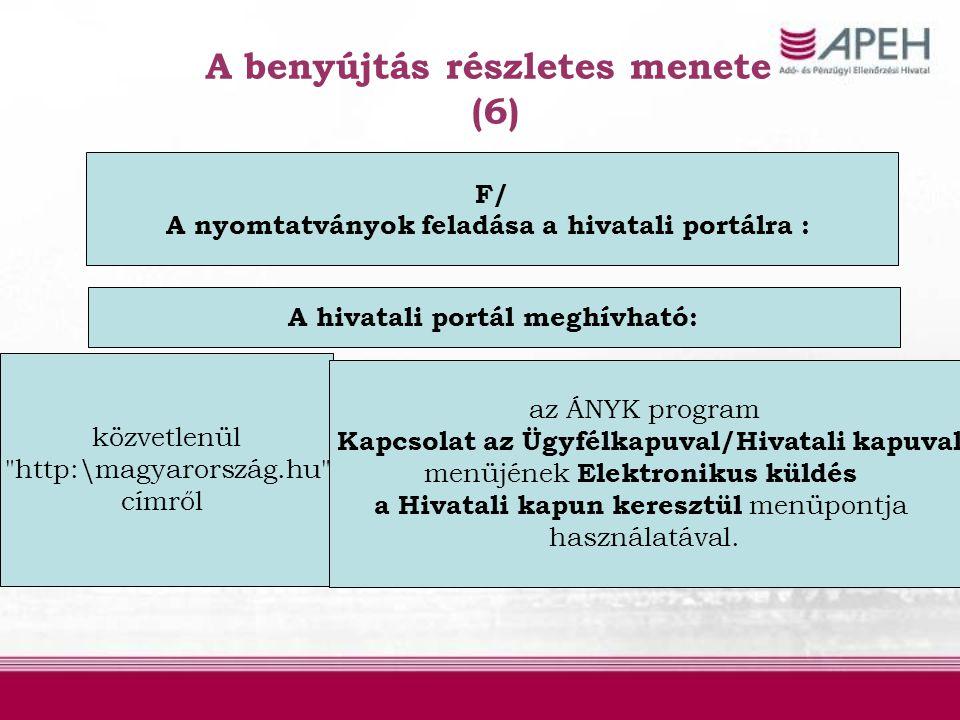 A benyújtás részletes menete (6) F/ A nyomtatványok feladása a hivatali portálra : közvetlenül