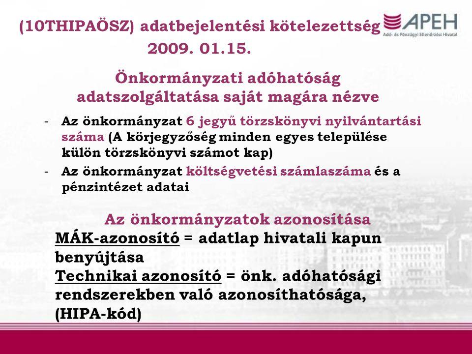 (10THIPAÖSZ) adatbejelentési kötelezettség 2009. 01.15. Önkormányzati adóhatóság adatszolgáltatása saját magára nézve - Az önkormányzat 6 jegyű törzsk