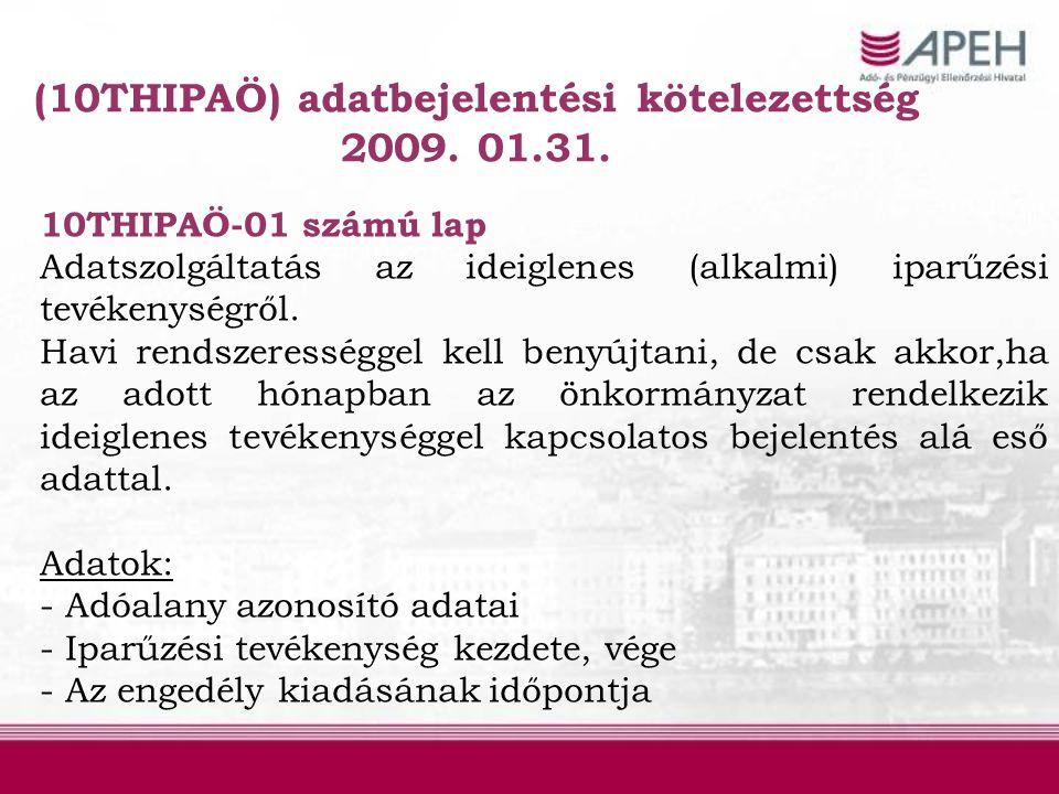 (10THIPAÖ) adatbejelentési kötelezettség 2009. 01.31. 10THIPAÖ-01 számú lap Adatszolgáltatás az ideiglenes (alkalmi) iparűzési tevékenységről. Havi re