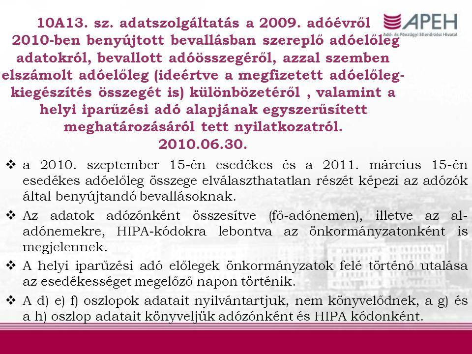 10A13. sz. adatszolgáltatás a 2009. adóévről 2010-ben benyújtott bevallásban szereplő adóelőleg adatokról, bevallott adóösszegéről, azzal szemben elsz