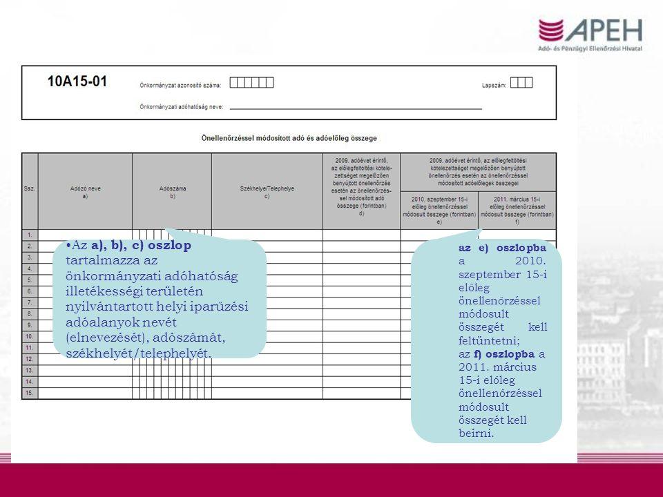 az e) oszlopba a 2010. szeptember 15-i előleg önellenőrzéssel módosult összegét kell feltüntetni; az f) oszlopba a 2011. március 15-i előleg önellenőr