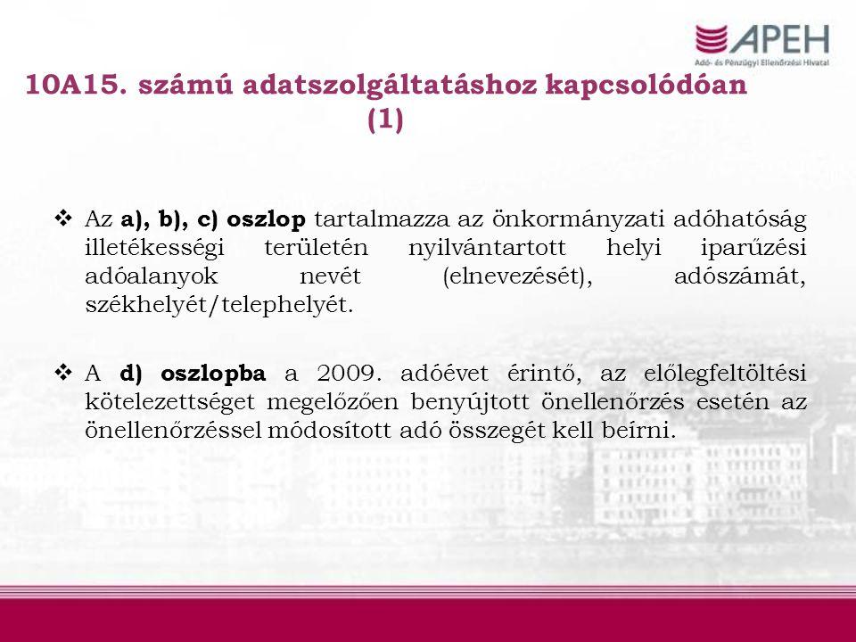 10A15. számú adatszolgáltatáshoz kapcsolódóan (1)  Az a), b), c) oszlop tartalmazza az önkormányzati adóhatóság illetékességi területén nyilvántartot