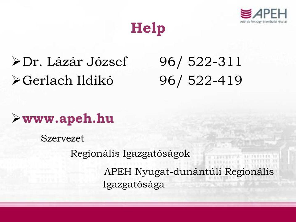 Help  Dr. Lázár József96/ 522-311  Gerlach Ildikó96/ 522-419  www.apeh.hu Szervezet Regionális Igazgatóságok APEH Nyugat-dunántúli Regionális Igazg