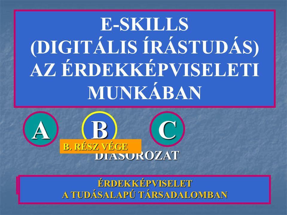 E-SKILLS (DIGITÁLIS ÍRÁSTUDÁS) AZ ÉRDEKKÉPVISELETI MUNKÁBAN AZ E-SKILLS FOGALMA ÉS JELENTŐSÉGE ABC DIASOROZAT B. RÉSZ VÉGE ÉRDEKKÉPVISELET A TUDÁSALAP