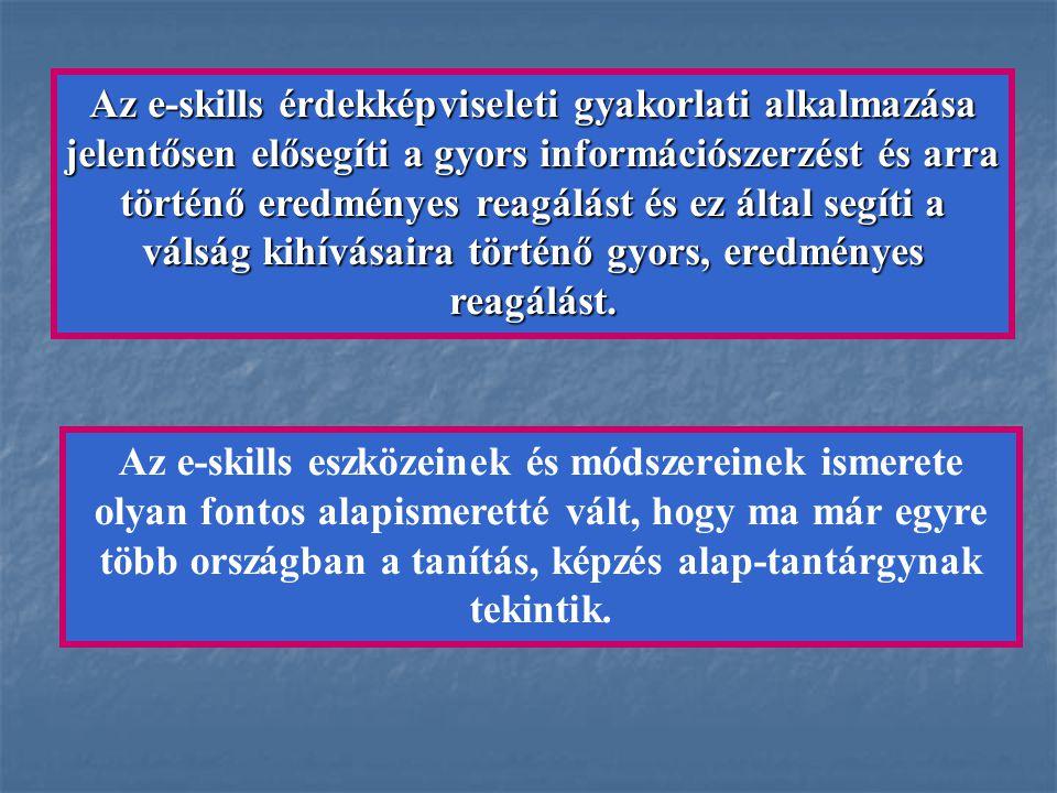 Az e-skills érdekképviseleti gyakorlati alkalmazása jelentősen elősegíti a gyors információszerzést és arra történő eredményes reagálást és ez által s