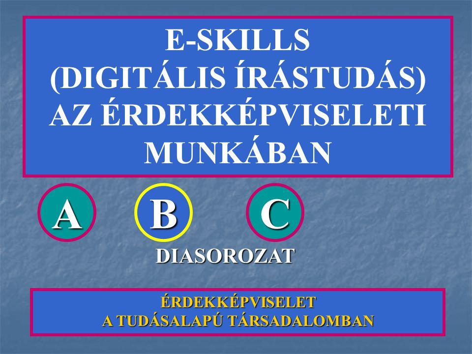 E-SKILLS (DIGITÁLIS ÍRÁSTUDÁS) AZ ÉRDEKKÉPVISELETI MUNKÁBAN ÉRDEKKÉPVISELET A TUDÁSALAPÚ TÁRSADALOMBAN ABC DIASOROZAT