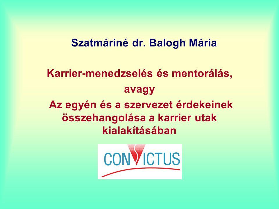 Szatmáriné dr. Balogh Mária Karrier-menedzselés és mentorálás, avagy Az egyén és a szervezet érdekeinek összehangolása a karrier utak kialakításában