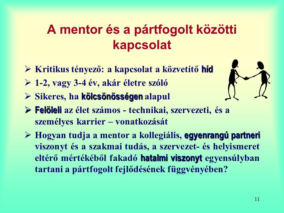 11 A mentor és a pártfogolt közötti kapcsolat híd  Kritikus tényező: a kapcsolat a közvetítő híd  1-2, vagy 3-4 év, akár életre szóló kölcsönösségen