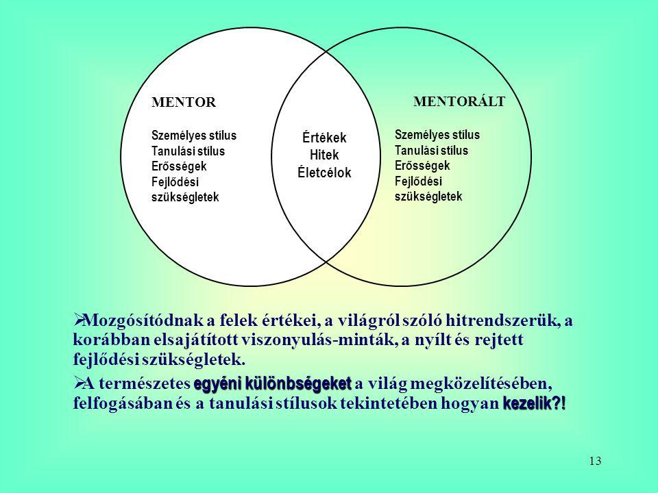 13 MENTOR Személyes stílus Tanulási stílus Erősségek Fejlődési szükségletek MENTORÁLT Személyes stílus Tanulási stílus Erősségek Fejlődési szükséglete