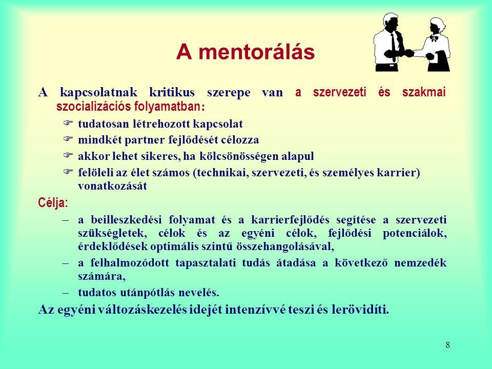 8 A mentorálás A kapcsolatnak kritikus szerepe van a szervezeti és szakmai szocializációs folyamatban :  tudatosan létrehozott kapcsolat  mindkét pa