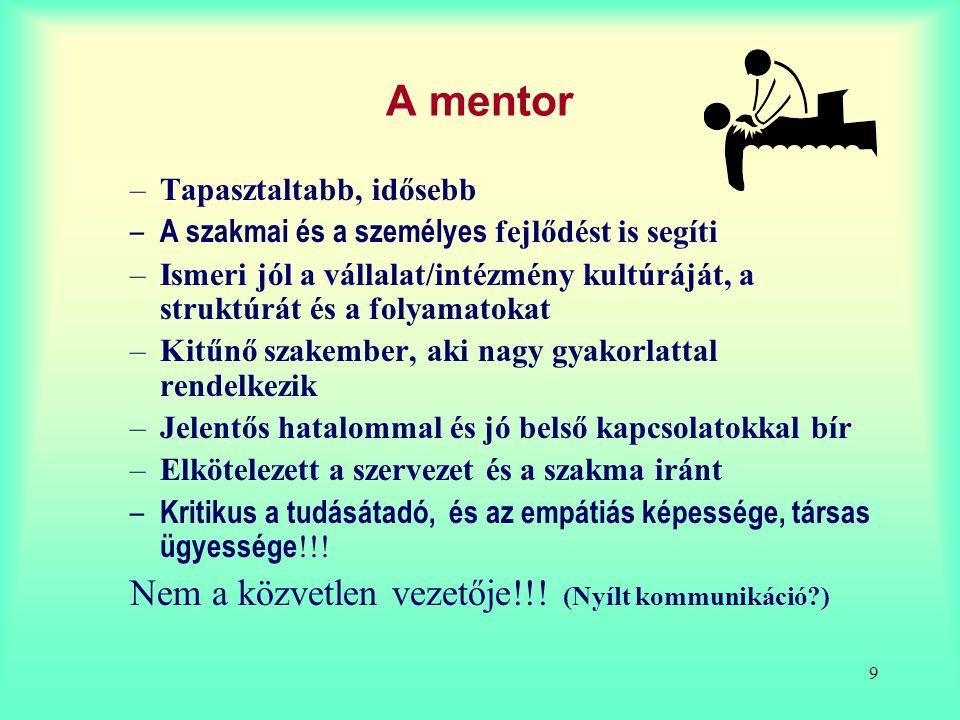 9 A mentor –Tapasztaltabb, idősebb – A szakmai és a személyes fejlődést is segíti –Ismeri jól a vállalat/intézmény kultúráját, a struktúrát és a folya