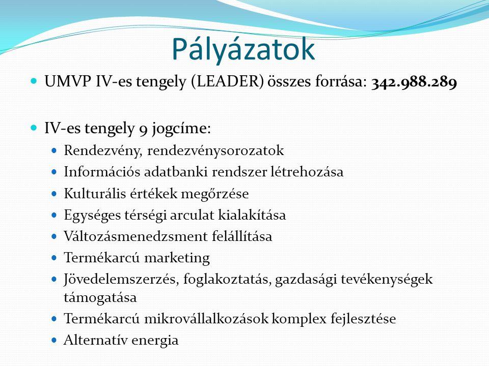  UMVP IV-es tengely (LEADER) összes forrása: 342.988.289  IV-es tengely 9 jogcíme:  Rendezvény, rendezvénysorozatok  Információs adatbanki rendsze