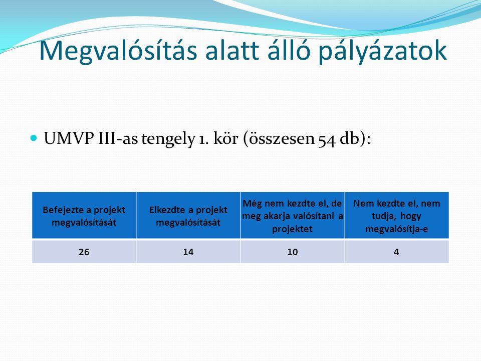 Megvalósítás alatt álló pályázatok  UMVP III-as tengely 1. kör (összesen 54 db): Befejezte a projekt megvalósítását Elkezdte a projekt megvalósítását