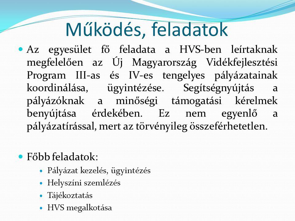 Működés, feladatok  Az egyesület fő feladata a HVS-ben leírtaknak megfelelően az Új Magyarország Vidékfejlesztési Program III-as és IV-es tengelyes pályázatainak koordinálása, ügyintézése.